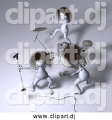 Vector Clipart of 3d Creatures Playing in a Rock Band by Julos