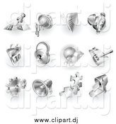 August 1st, 2015: Vector Clipart of 3d Shiny Metal Navigation, Audio, News, Alarm Clock, Calendar, Security, Checklist, Gear, Megaphone, Solutions and Mail App Icons by AtStockIllustration