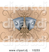 Vector Clipart of 3d Two Speakers over Floral Grunge by AtStockIllustration