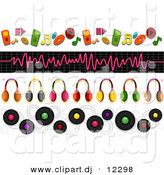 Vector Clipart of 4 Unique Music and Headphone Borders - Digital Collage by BNP Design Studio