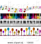 Vector Clipart of 4 Unique Music Borders - Digital Collage by BNP Design Studio