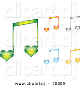 Vector Clipart of 5 Unique Love Heart Music Notes - Digital Collage by Andrei Marincas