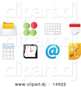 Vector Clipart of 8 Unique Office Computer Icons with Music Note by Andrei Marincas