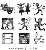 Vector Clipart of 9 Music and Entertainment Related Icons by Alexia Lougiaki