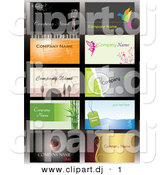 Vector Clipart of a 10 Business Card Templates with Sample Text - Digital Collage by Eugene