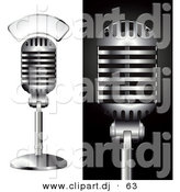 Vector Clipart of a 2 Metal Studio Microphones - Digital Collage by Anja Kaiser