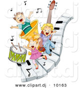 Vector Clipart of a 3 Happy Kids Playing on Piano Keys with Music Notes and Instruments - Cartoon Design by BNP Design Studio