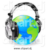 Vector Clipart of a 3d Blue and Green Globe Wearing Noise Canceling Music Headphones by AtStockIllustration