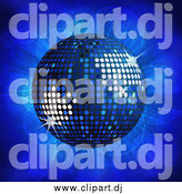 Vector Clipart of a 3d Blue Disco Ball over a Burst by Elaineitalia