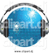 April 27th, 2015: Vector Clipart of a 3d Blue Disco Ball with Headphones by Elaineitalia
