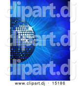 Vector Clipart of a 3d Blue Disco Music Ball on a Blue Burst by Elaineitalia