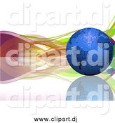 Vector Clipart of a 3d Blue Mosaic Disco Ball Earth on a Reflective Surface, with Colorful Waves by Elaineitalia