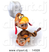 Vector Clipart of a 3d Brown Rooster Chef Guitarist by Julos