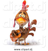 Vector Clipart of a 3d Brown Rooster Playing a Guitar by Julos