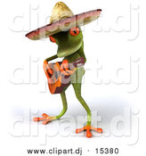 Vector Clipart of a 3d Busker Mexican Guitarist Frog by Julos