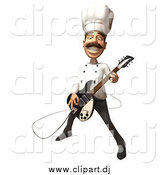 Vector Clipart of a 3d Chef Playing an Electric Guitar by Julos