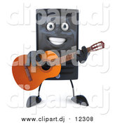 Vector Clipart of a 3d Computer Tower Guitarist by Julos