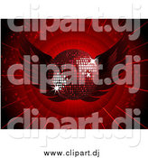 Vector Clipart of a 3d Dark Red Disco Ball with Wings on a Bursting Background by Elaineitalia