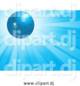 Vector Clipart of a 3d Disco Ball over a Burst of Blue Light Rays by Elaineitalia