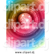 Vector Clipart of a 3d Disco Ball over Colorful Circles and Music Notes by KJ Pargeter