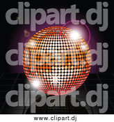 Vector Clipart of a 3d Disco Ball over Reflective Tiles and Purple Flares by Elaineitalia