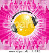 Vector Clipart of a 3d Disco Ball Wearing Headphones, on a Bursting Pink Background Bordered by Equalizer Lines by Elaineitalia