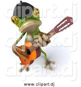 Vector Clipart of a 3d French Frog Guitarist by Julos