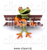 Vector Clipart of a 3d Frog Playing a Guitar on a Park Bench by Julos