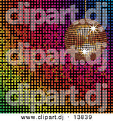 Vector Clipart of a 3d Gold Disco Ball over a Colorful Mosaic Background by Elaineitalia