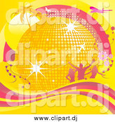 Vector Clipart of a 3d Gold Disco Ball with Palm Trees, Sunshine, Silhouetted People, Flowers, Airplanes and Butterflies and a Wave of Pink and Yellow by Elaineitalia