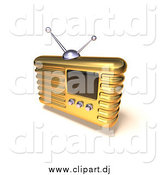 July 28th, 2015: Vector Clipart of a 3d Gold Radio by Julos