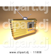 May 25th, 2017: Vector Clipart of a 3d Gold Retro Metal Radio by Julos