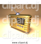 August 4th, 2015: Vector Clipart of a 3d Gold Retro Metal Radio over Shading by Julos