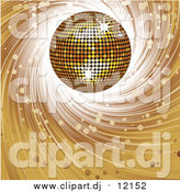 Vector Clipart of a 3d Golden Disco Ball on a Spiraling Brown Background by Elaineitalia
