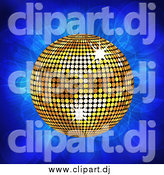 Vector Clipart of a 3d Golden Disco Music Ball on Blue Flares by Elaineitalia