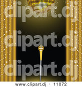 Vector Clipart of a 3d Golden Microphone on a Stand on a Stage, Framed by Golden Sparkling Curtains Under a Gold Disco Ball by Elaineitalia