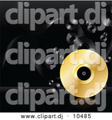 January 24th, 2016: Vector Clipart of a 3d Golden Vinyl Record Rolling on a Reflective Surface over a Black Background with Black Records by Elaineitalia