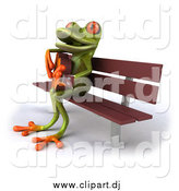 Vector Clipart of a 3d Green Frog Playing a Guitar on a Bench by Julos