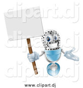 Vector Clipart of a 3d Happy Microphone Holding a Sign by AtStockIllustration