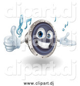 Vector Clipart of a 3d Happy Speaker Character Holding a Thumb up and Playing Tunes by AtStockIllustration
