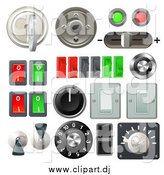 Vector Clipart of a 3d Knobs, Switches and Dials with Buttons and Keys by AtStockIllustration