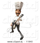 August 10th, 2015: Vector Clipart of a 3d Male Chef Playing an Electric Guitar by Julos