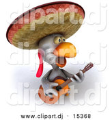 Vector Clipart of a 3d Mexican Chicken Playing a Guitar and Singing by Julos
