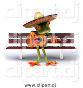 July 31st, 2015: Vector Clipart of a 3d Mexican Guitarist Frog Playing on a Bench by Julos