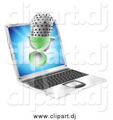 Vector Clipart of a 3d Microphone Emerging from a Laptop Screen by AtStockIllustration