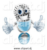 Vector Clipart of a 3d Microphone Giving Two Thumbs up by AtStockIllustration