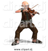 Vector Clipart of a 3d Old Senior Man Playing a Violin by Ralf61