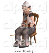 Vector Clipart of a 3d Old Senior Man Sitting with a Violin by Ralf61