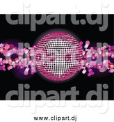 Vector Clipart of a 3d Pink Disco Ball over a Black Background with Pink Lights by Elaineitalia