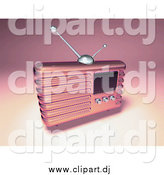September 16th, 2014: Vector Clipart of a 3d Pink Retro Metal Radio by Julos